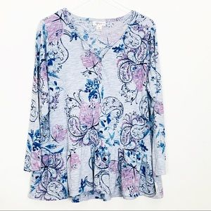 Plus Size Style & Co Grey Floral Ruffle Henley, 1X